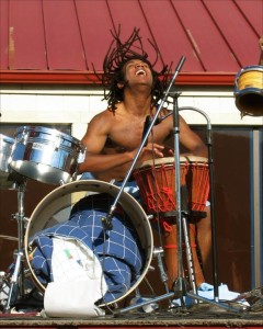wild drum dreadlocks flying shirtless
