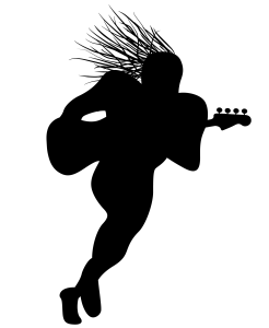 Logo is a guy with dreads running with a bass