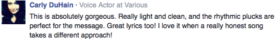 Facebook feedback Absolutely Gorgeous Song!