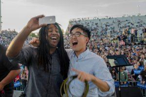 selfie onstage at stadium